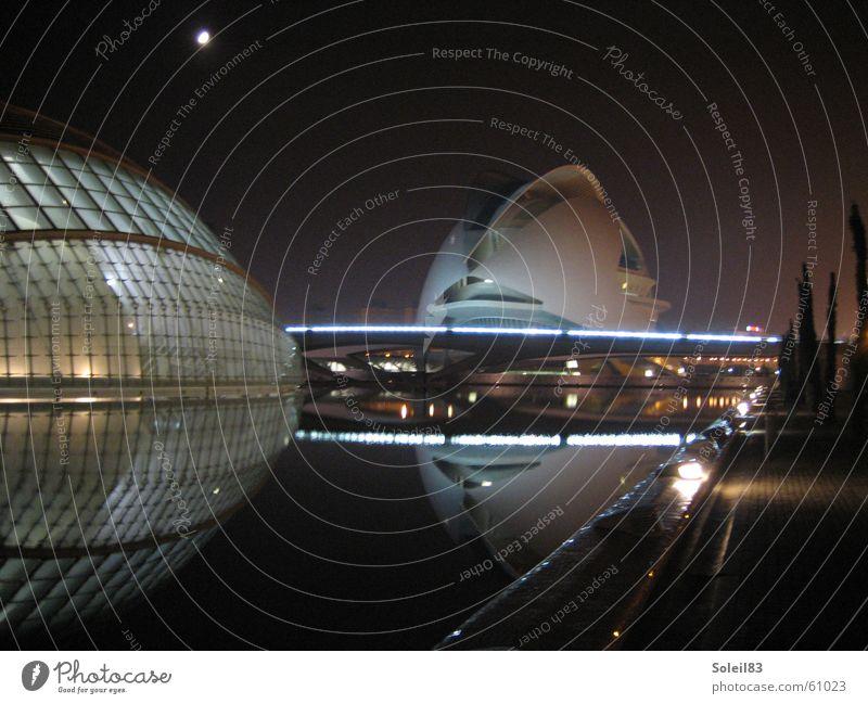 Ciudad de las Artes y las Ciencias Valencia Spain Night Reflection Lighting ciudad de las artes y las ciencias science city Moon Water Eyes hemispheric