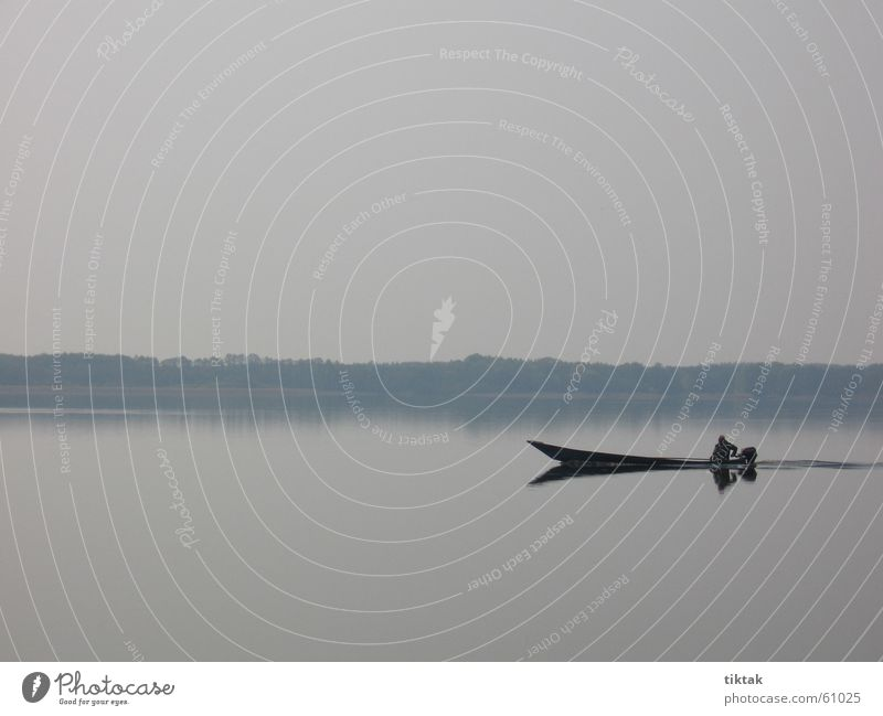 Always take it easy Lake Watercraft Fisherman Morning Fishing boat Calm Slate blue Contemplative Dawn Smooth