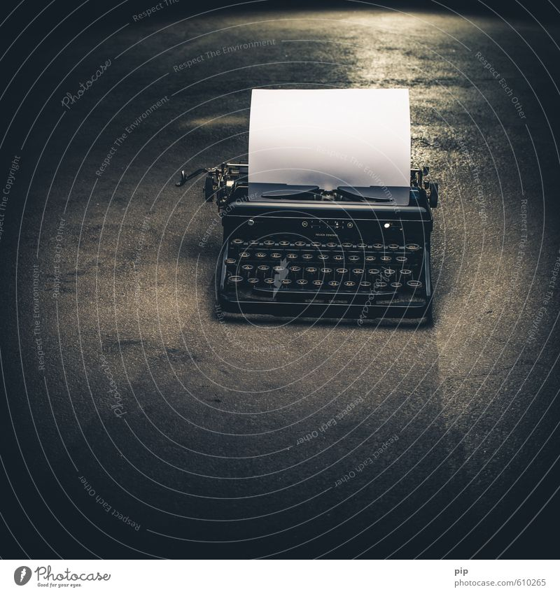 font maker Typewriter Concrete Old Black Creativity Keyboard Write Writer Paper Page Blank Floor covering Ancient Mechanics White Notepaper fumble Dark Eerie