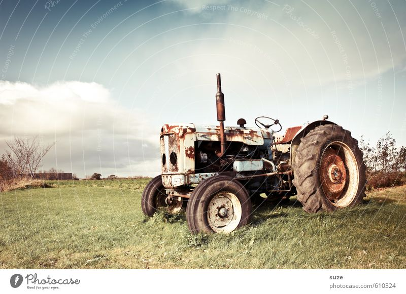 Old colleague Leisure and hobbies Work and employment Agriculture Forestry Machinery Environment Nature Sky Clouds Summer Beautiful weather Meadow Vehicle