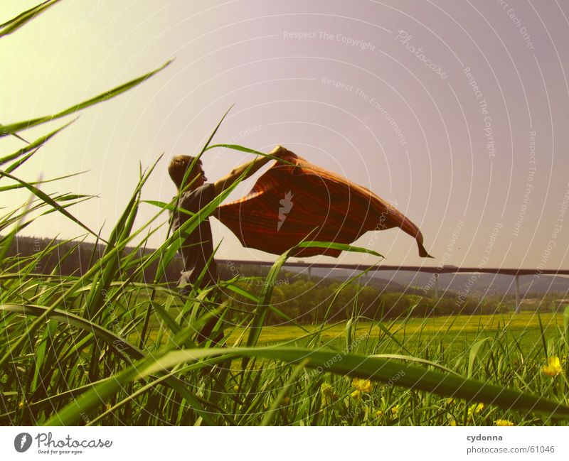 Human being Man Sky Sun Flower Joy Meadow Style Blossom Grass Spring Landscape Wind Flying Bridge Wing