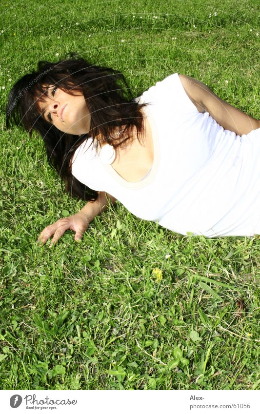 Close to nature Woman Grass Meadow Green White Brilliant Relaxation Picnic Summer Spring Beautiful Black Top Lie Lawn Patch Dirty Bright Sun haaree