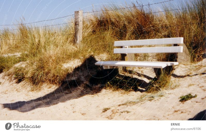 another bank Vacation & Travel White Wood Beach Wire Hill Leisure and hobbies Baltic Sea Bench Sit Sky Blue Beach dune Sand Shadow Wind