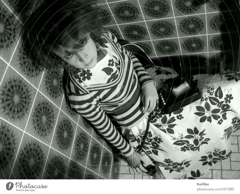 In the corner Girl Woman Telephone Seventies Sixties Multicoloured Stool Dress Striped Pattern Flower Toilet Tile Black & white photo Floor covering