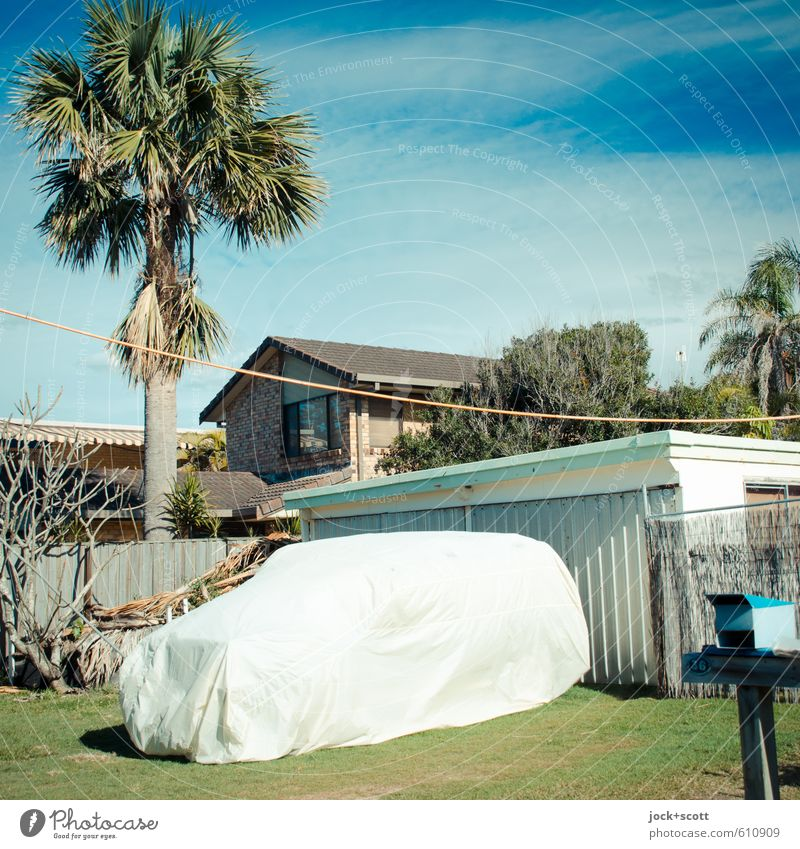Car à la Christo Sky Blue Green House (Residential Structure) Far-off places Warmth Lifestyle Idyll Living or residing Climate Protection Planning Hot Exotic