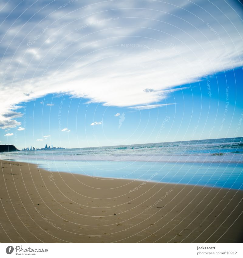 tilted Sky Blue Ocean Clouds Far-off places Beach Coast Sand Horizon Air Fresh Free Perspective Uniqueness Tilt Hope
