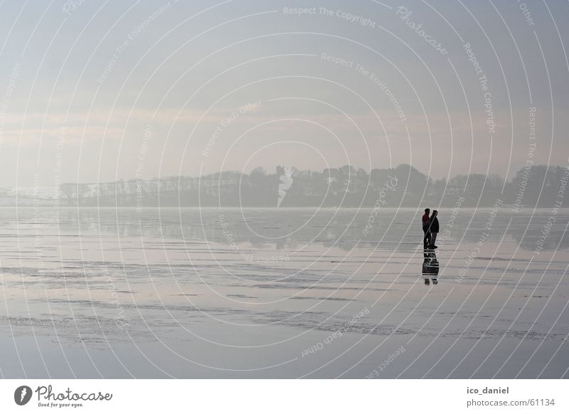 Icy peace - Island of Rügen Calm Vacation & Travel Trip Winter Winter vacation Human being Couple 2 Water Sky Fog Ice Frost Baltic Sea Lake Going Dream Brave