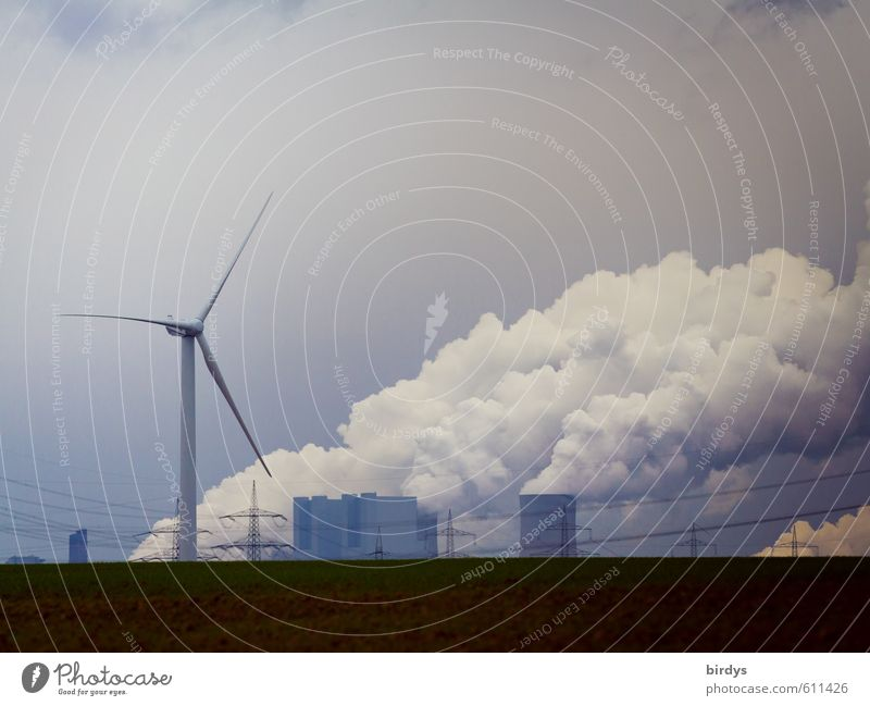 Energy concepts, wind turbine and coal-fired power plant in NRW Energy industry Renewable energy Wind energy plant Coal power station Niederaußem Clouds