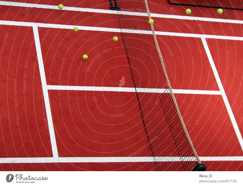 Red Playing Places Ball Net Tennis Service