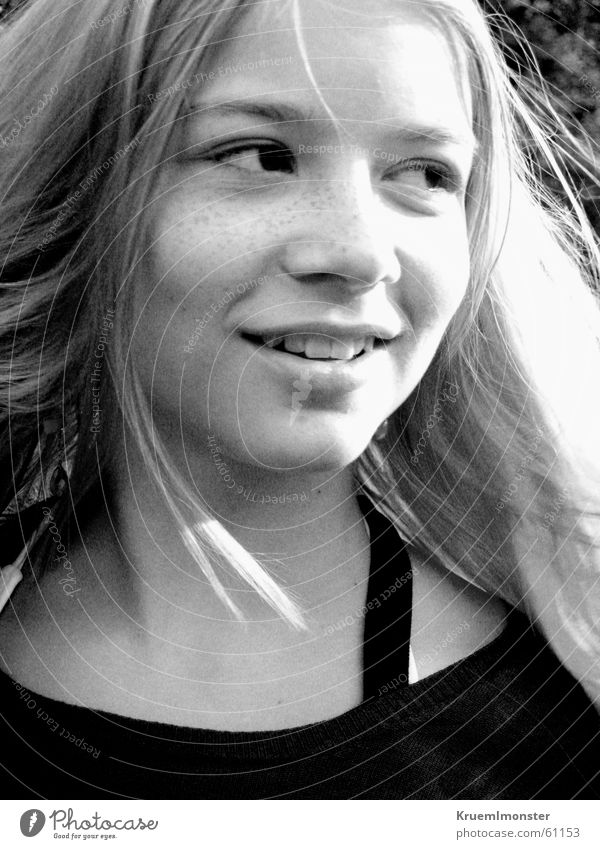 B&W Girl Blonde Hair and hairstyles Laughter Black & white photo Sun