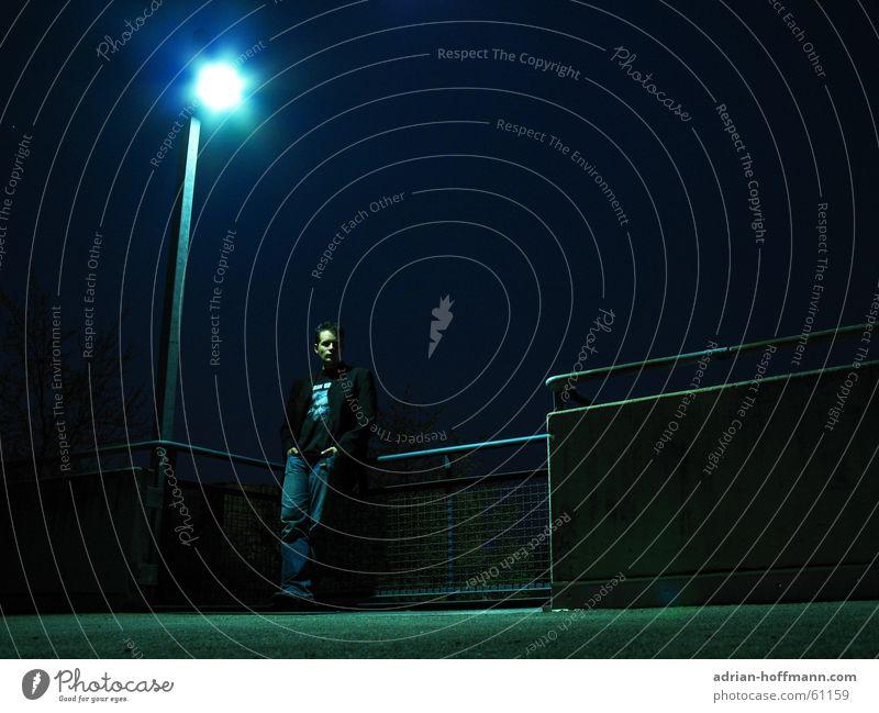 Man Hand Blue Loneliness Black Dark Sadness Wait Concrete Grief Jeans Jacket Pants Lantern Handrail Guy