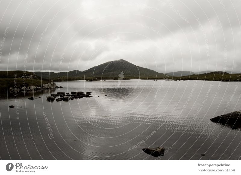Water Clouds Loneliness Dark Mountain Gray Lake Landscape Waves Hiking Fog Gloomy Hill Pond Dreary Scotland