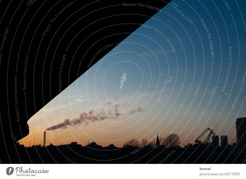 industrial silhouette Sky Sunrise Sunset Beautiful weather House (Residential Structure) Industrial plant Factory Harbour Bridge Chimney Blue Exhaust gas