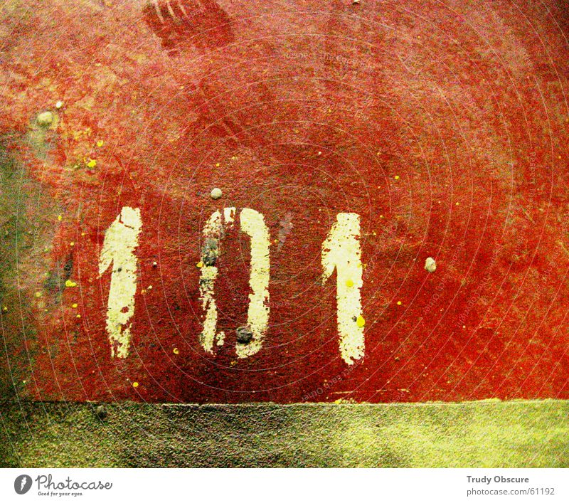 postcard no. 101 Surface Concrete Dust Skid marks Parking lot Garage Underground garage Parking garage Parking space number Digits and numbers Red Multicoloured