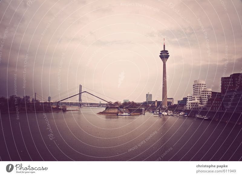 City Building Architecture Modern Bridge Harbour Manmade structures Skyline Landmark Tourist Attraction Vintage Duesseldorf Television tower City trip Rhine