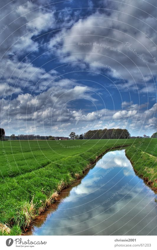 Stream in Winternam Green Clouds Grass Reflection Tree HDR Brook Calm Gale Niederrhein Body of water Current Landscape Contrast River Dynamics external name