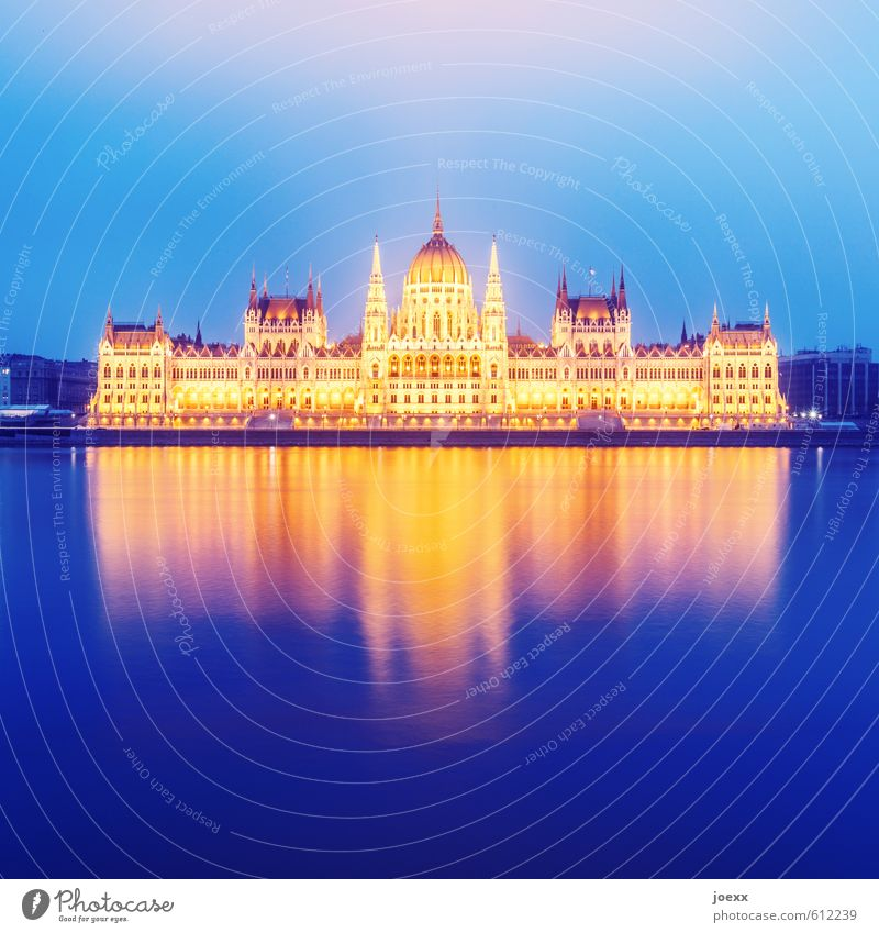 gold Water Sky Fog River bank Budapest Hungary Capital city Manmade structures Architecture Tourist Attraction Parliament Elegant Gigantic Large Bright Historic