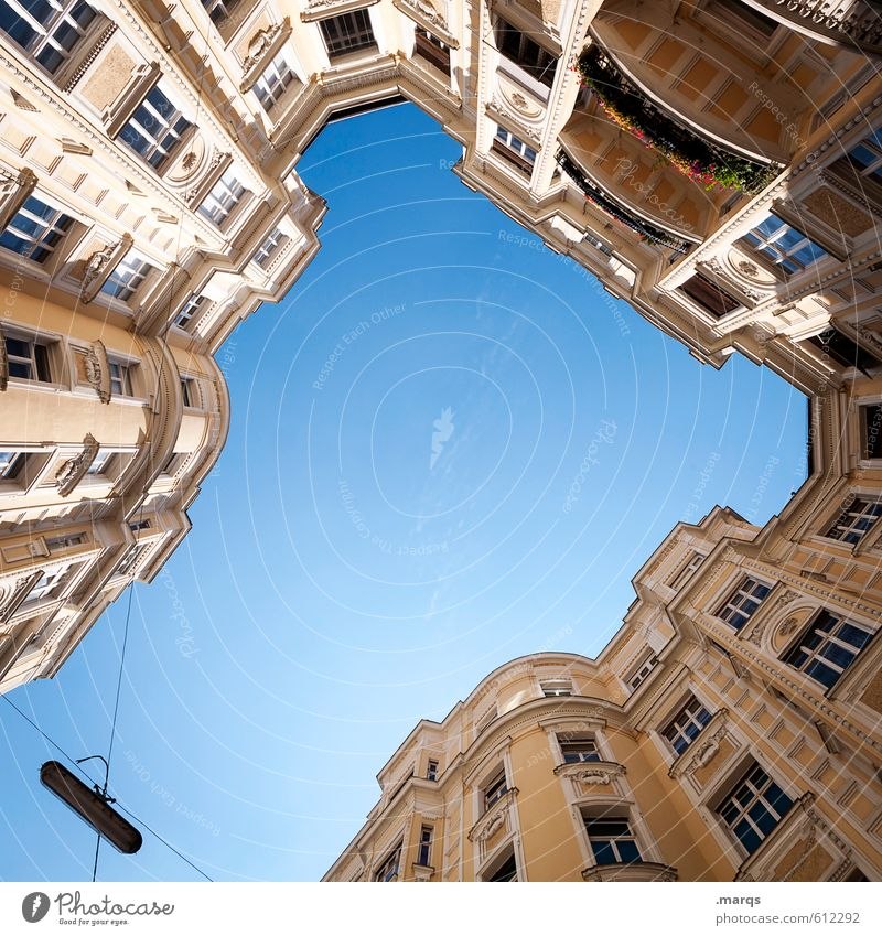 stronghold Cloudless sky Sunlight Beautiful weather House (Residential Structure) Manmade structures Building Architecture Facade Balcony Window