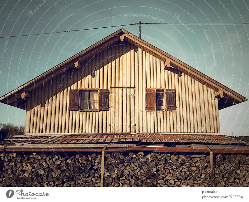 It's all a front. Ghost house. Village Deserted House (Residential Structure) Hut Building Sign Secrecy Facade Wooden house Empty Window Electricity pylon