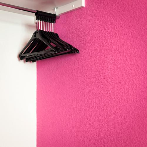 order Style Living or residing Bedroom Hanger Closet Clothing Esthetic Simple Pink Black White Colour Arrangement Extract Empty Hang up Clothes peg Tidy up