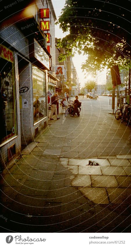 Sun Street Dark Bright Hamburg Traffic infrastructure Puddle Original Snack bar End of the film