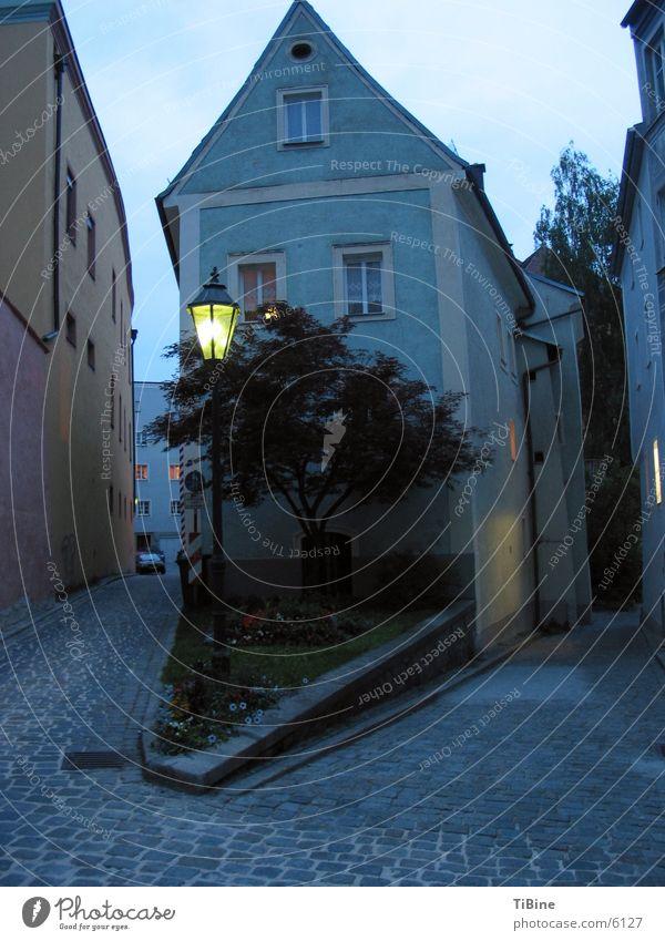House in the evening House (Residential Structure) Dusk Twilight Street lighting Passau Street corner Europe Blue