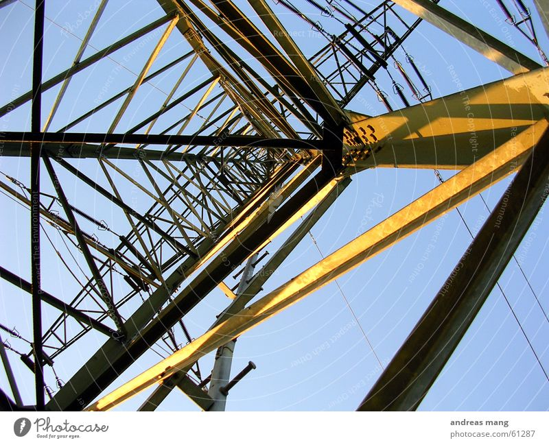 Sky Sun Lighting Power Tall Electricity Cable Steel Electricity pylon Construction Transmission lines Scaffold