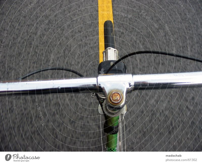 GERADEAUS - bicycle handlebars bicycle handlebars POV Joy Summer Cycling Bicycle Wind Transport Traffic infrastructure Street Movement Free Speed Yellow Gray