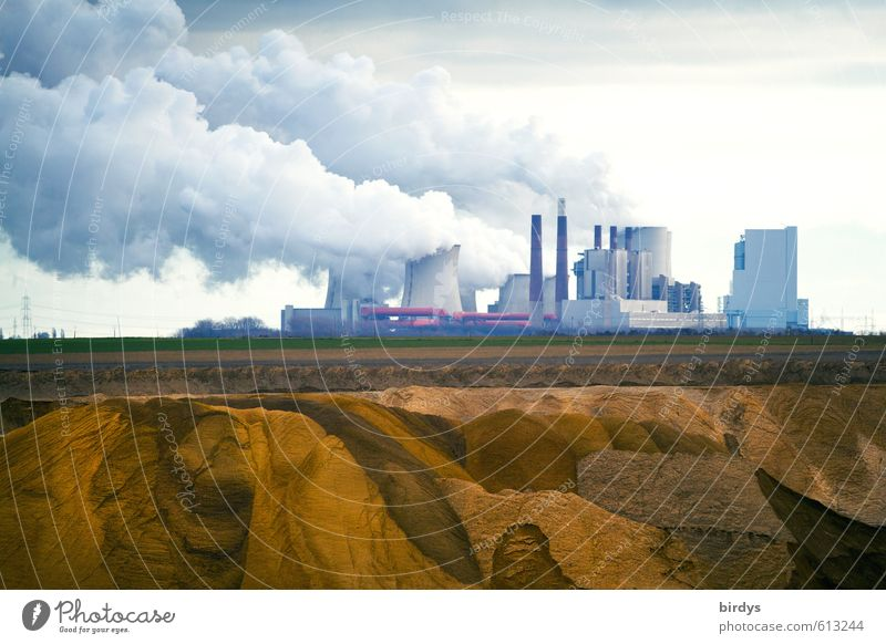Nature Clouds Field Dirty Energy industry Change Industry Smoking Politics and state Environmental pollution Gigantic Soft coal mining Lignite Coal power station Cooling tower CO2 emission