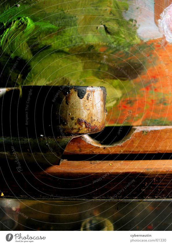paint pot Palett Wood Oil paint Dust Art Atelier Green saucepan Metal Orange Painting (action, work)