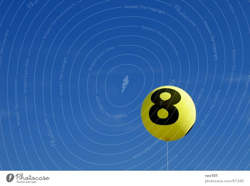 eight balloon 8 Yellow String Balloon 8888 Blue Sky Gas