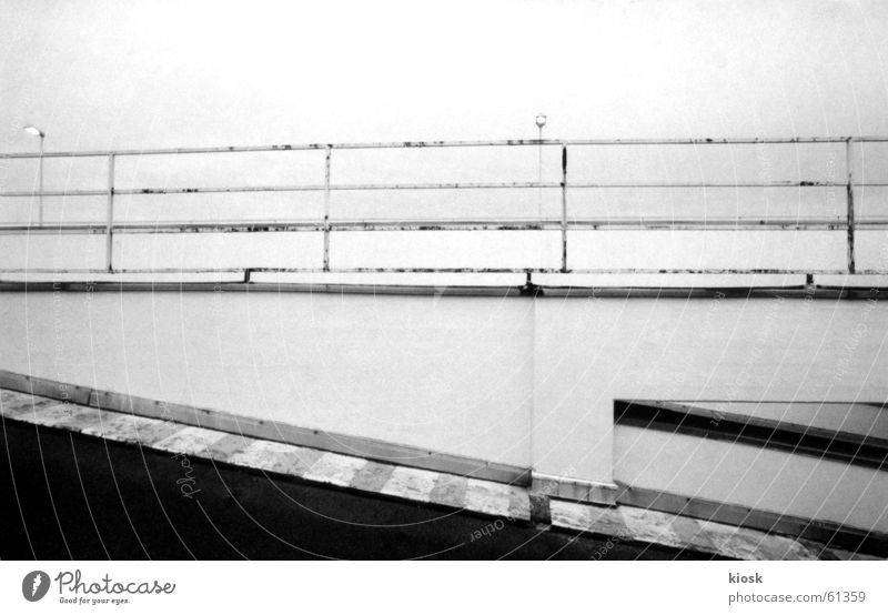 parking level no.4 Parking garage Expressway exit Horizontal Black & white photo Handrail Empty polapan Architecture