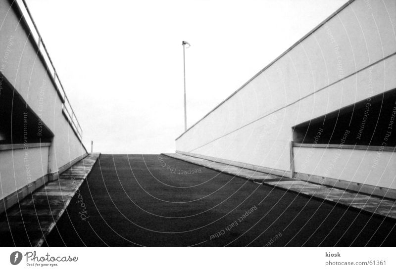 parking level no.3 Parking garage Expressway exit Wall (barrier) Lantern Diagonal Black & white photo polapan
