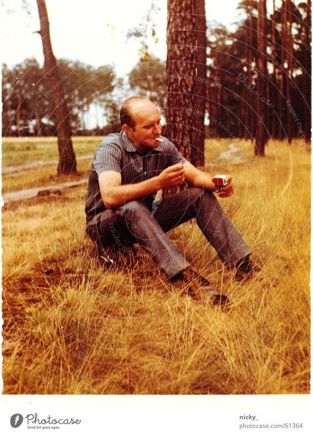 Man Tree Forest Meadow Footwear Sit Good Pants Cigarette Shirt Bald or shaved head Boast Bohemian