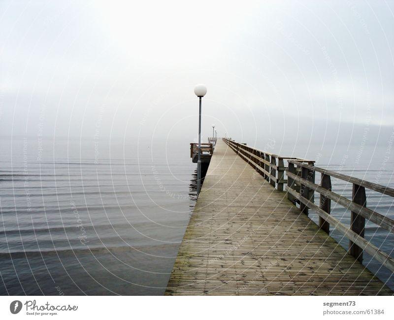 Bridge in the morning Footbridge Lake Ocean Wood Lamp Fog Beach Morning Going Baltic Sea Water Lanes & trails Bright Blue North Sea