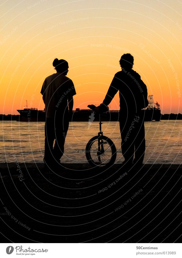Silhouette at the river (with unicycle) Leisure and hobbies Loneliness Vacation & Travel Trip Adventure Far-off places Freedom Summer Beach Sports Cycling