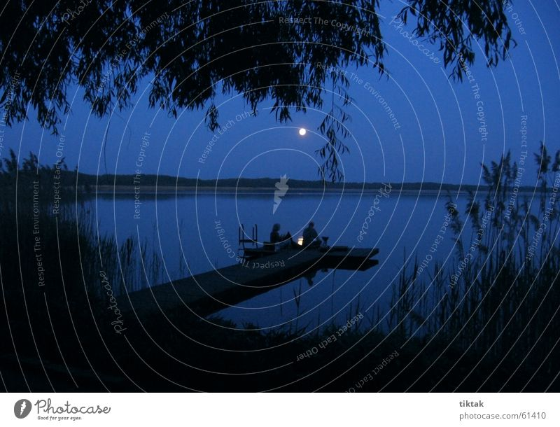 Water Blue Vacation & Travel Lake Romance Moon Footbridge Camping Mystic Dusk Eerie Moonlight Moonrise