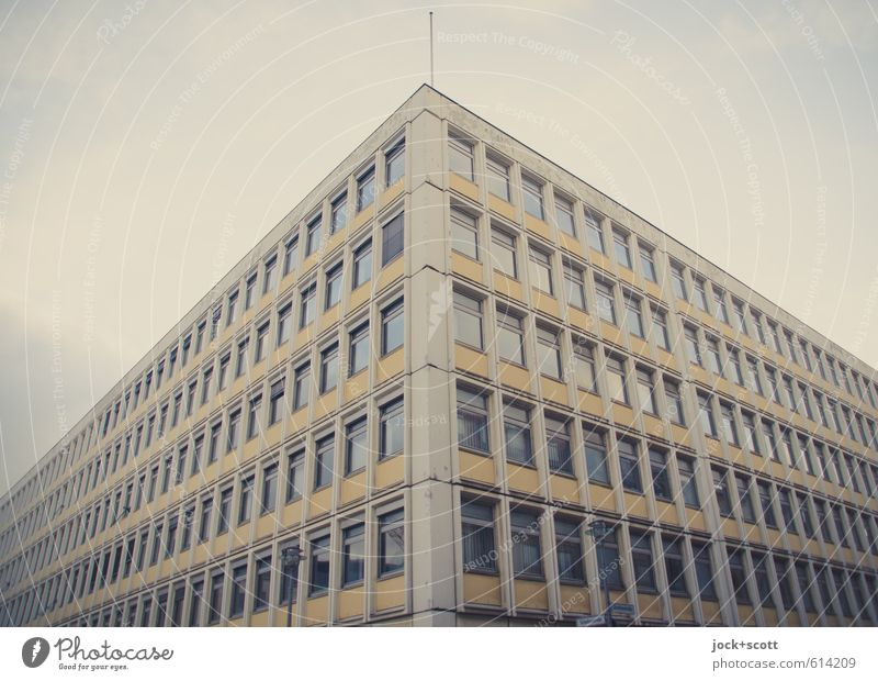everything is (only) a facade Sky City Winter Window Facade Perspective Corner Stripe Retro Might Long Downtown Diagonal Nostalgia Sightseeing GDR