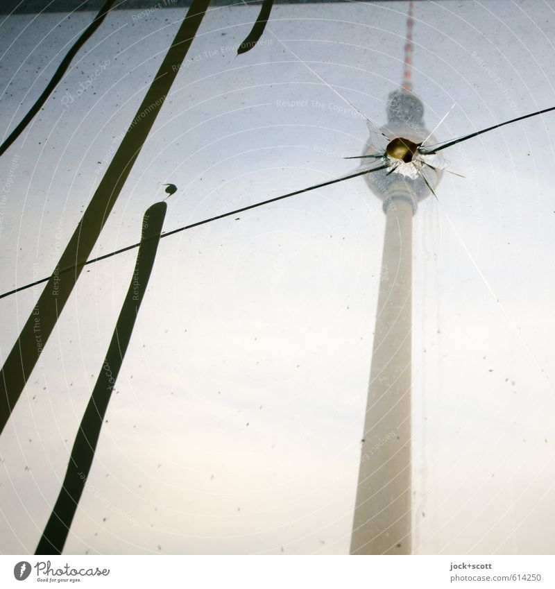 Jump in the bowl Sky Capital city Tourist Attraction Landmark Berlin TV Tower Stripe Broken Cliche Gloomy Aggression Pane Crack & Rip & Tear Impact Strike