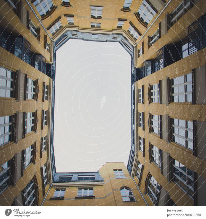 Sky City Calm Window Building Facade Air Arrangement Living or residing Open Perspective Tall Retro Tradition Nostalgia Frame