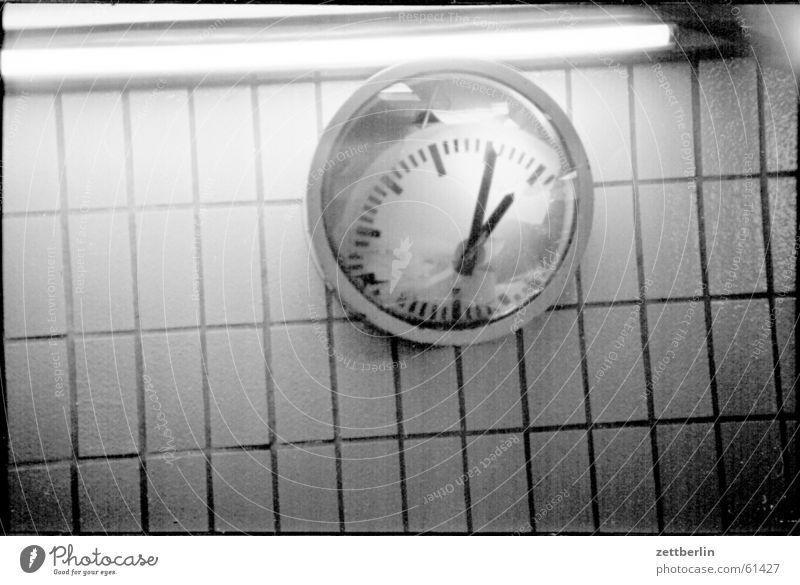 watch comparison Clock Time Alexanderplatz Reflection Neon light Subsoil Checkered Cold Empty Speed Calm Past Commuter Light Transport Historic Nostalgia Dirty