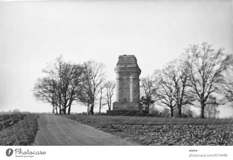 Bismarck Tower near Augsburg Outskirts Park Places Manmade structures Building Architecture Monument Old Original Black & white photo Exterior shot Lomography