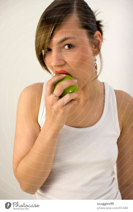 Green Red Nutrition Fruit Sweet Lips Apple Bite Juicy Task Alluring Crunchy Bright background