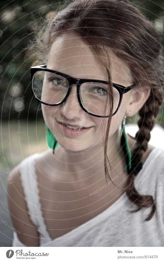 speculative iron Lifestyle Feminine Girl Skin Face 1 Human being 8 - 13 years Child Infancy T-shirt Eyeglasses Brunette Long-haired Braids Joy Happiness Cute