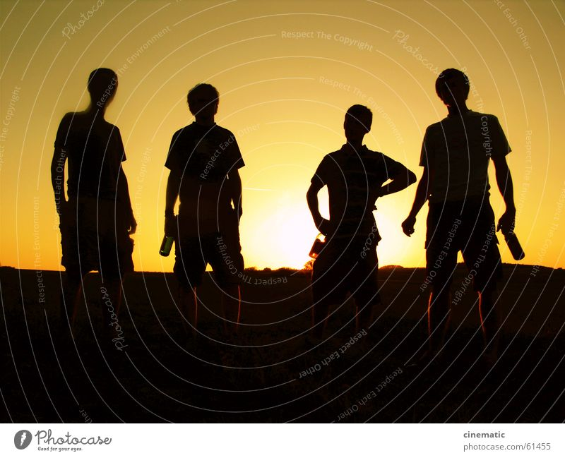 4 Companions Friendship Back-light Human being Meadow Stand Light Field Grass Beer Clothing Sunset Twilight Dark Relaxation Evening Posture Summer Group