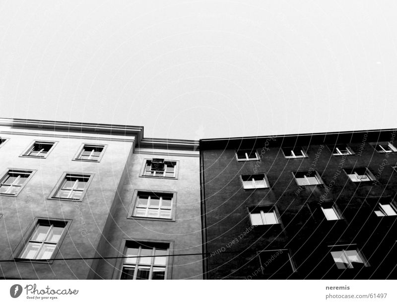 white&black House (Residential Structure) Window Black White Gray Old building Vienna Austria Sky grayscale
