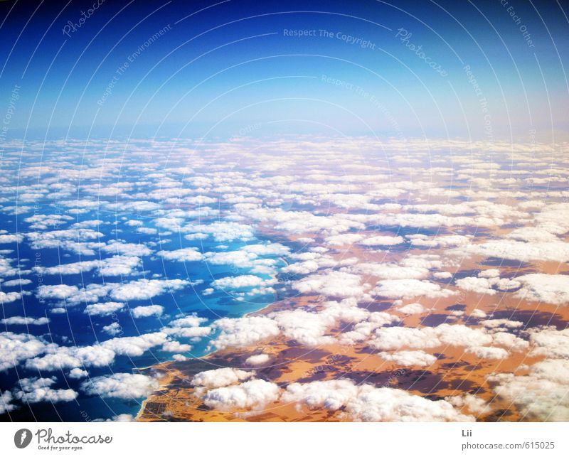 above the clouds Summer Sun Ocean Landscape Earth Air Water Sky Clouds Horizon Weather Beautiful weather Warmth Beach Red Sea Desert Egypt Africa