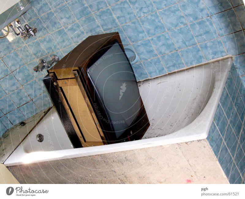 White Blue Dirty TV set Bathroom Tile Bathtub Building for demolition