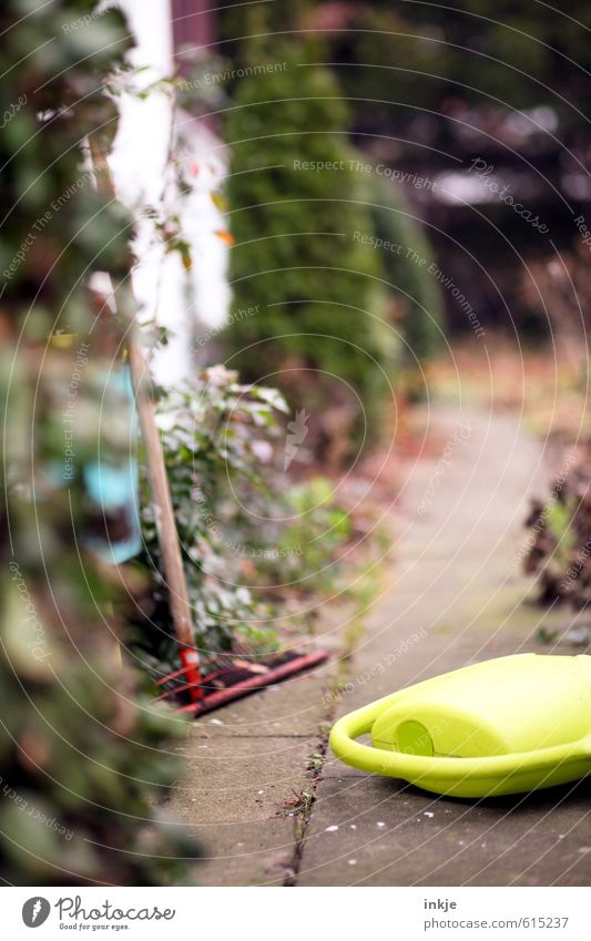 garden path Lifestyle Garden Gardening Autumn Plant Bushes Deserted Lanes & trails Garden path Watering can Rake Gardening equipment Emotions Moody Effort