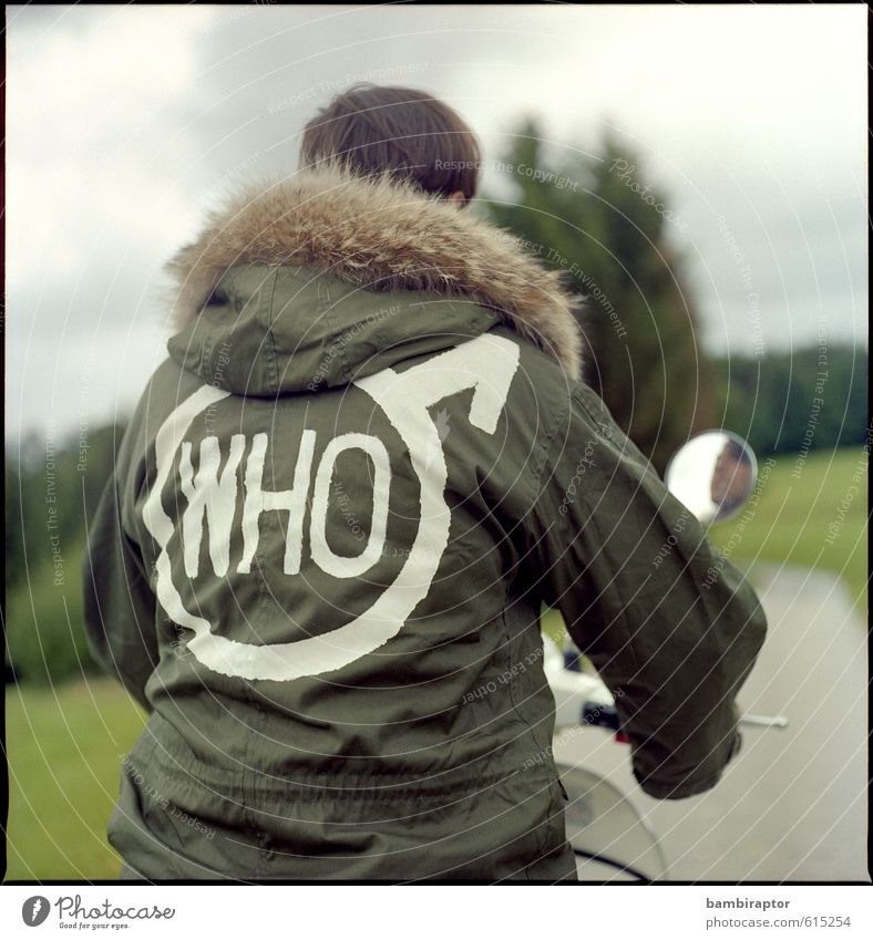 Human being Youth (Young adults) 18 - 30 years Young man Adults Style Masculine Lifestyle Cool (slang) Driving Pelt Jacket Analog Vintage Scooter